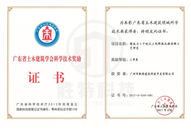 """广州市科学技术奖""""墩底力5千吨以上的群桩托换创新工艺研究"""""""
